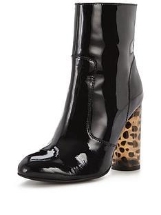 office-office-animal-printed-heel-heeled-ankle-boot