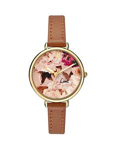 limit-floral-dial-tan-leather-strap-ladies-watch
