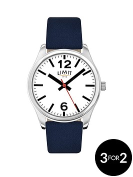 limit-white-dial-blue-leather-strap-mens-watch