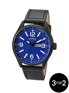 limit-blue-dial-black-leather-strap-mens-watch