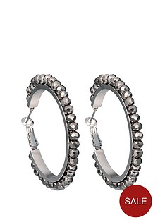 fiorelli-silver-tone-hematite-facet-bead-hoop-earrings