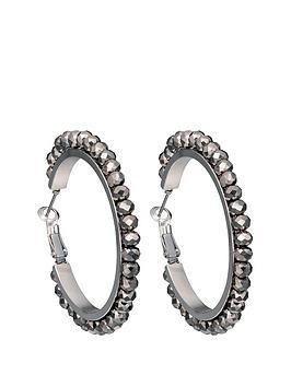 fiorelli-silver-tone-hematite-facet-bead-hoop-earrings