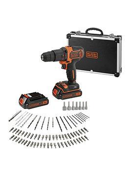 black-decker-18v-hammer-drill-2-batteries-flight-case-amp-80-accessories