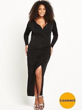 lost-ink-curve-wrap-dress-black