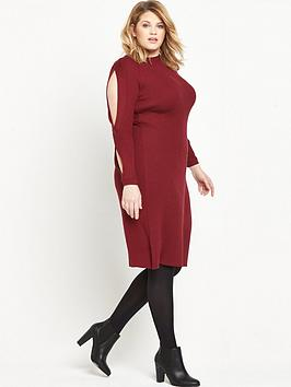 Lost Ink Curve Lost Ink Knitted Dress With Twist Sleeve