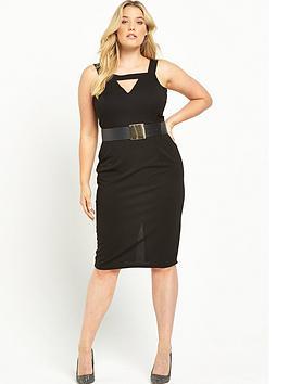 lost-ink-curve-bar-front-pencil-dress-with-belt-black