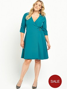 lost-ink-curve-wrap-dress-with-buckle-side-teal