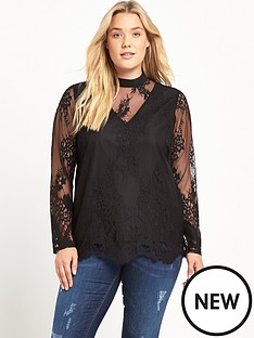 lost-ink-curve-high-neck-lace-top