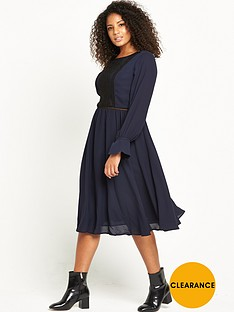 lost-ink-curve-fit-amp-flare-dress-with-lace-panel