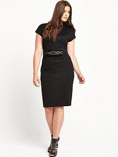 lost-ink-curve-high-neck-bodycon-dress-with-belt
