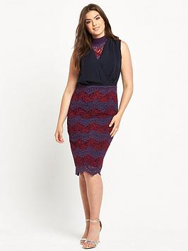 lost-ink-curve-pencil-dress-with-lace-skirt