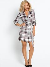 Check Belted Shirt Dress - Grey