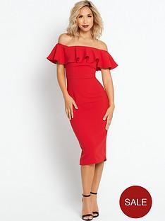 myleene-klass-ruffle-off-the-shoulder-pencil-dress-red