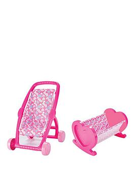 Pink Stroller &Amp Dolls Bed Twin Pack 7159