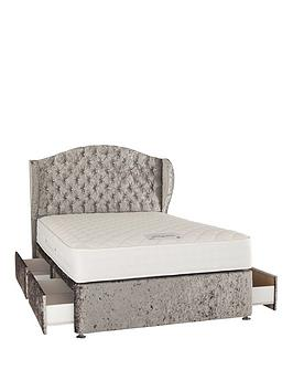 Very Boutique From Airsprung Marilyn 1000 Pocket Memory Fabric Divan Bed With Headboard And Optional Storage