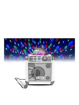 easy-karaoke-idance-sing-cube-in-white-bluetooth-karaoke-system-with-bult-in-light-show