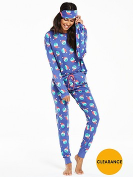 chelsea-peers-chelsea-peers-santa-sprouts-ls-pyjama-and-eye-mask-set