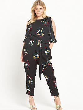 ri-plus-printed-cold-shoulder-jumpsuit