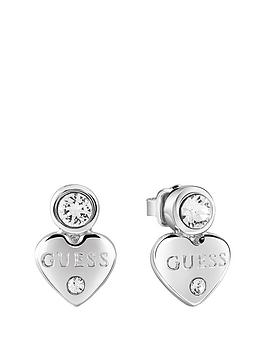 guess-rhodium-plated-mini-heart-earrings