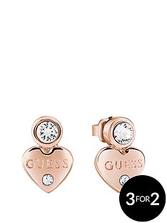guess-rose-gold-platednbspmini-heart-earrings