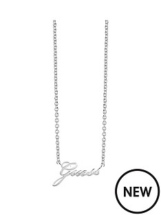 guess-guess-rhodium-plated-logo-necklace