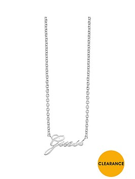 guess-rhodium-plated-logo-necklace
