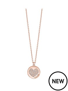 guess-guess-rose-gold-plated-crystal-heart-coin-pendant