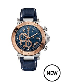 guess-gc-1-class-blue-dial-chronograph-rose-gold-plated-bezel-blue-leather-strap-mens-watch