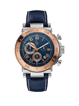 guess-gc-1-class-chronograph-dial-blue-leather-strap-mens-watch
