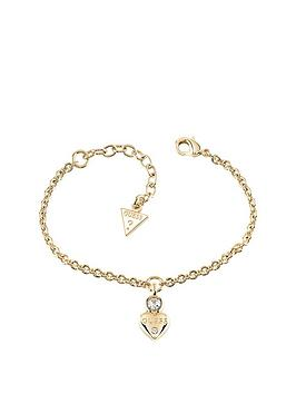 Guess Gold Plated Mini Heart Charm Bracelet