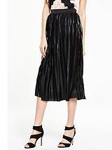 Wet Look Pleated Skirt