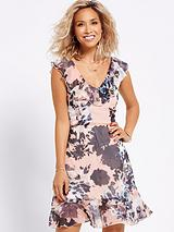 RUFFLE FRONT PRINTED DRESS