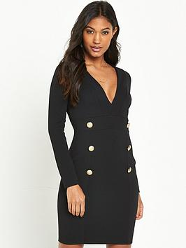 river-island-river-island-black-long-sleeve-button-through-dress