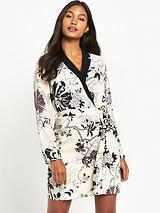 Oriental Print Tux Dress
