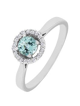 Love Gem 9Ct White Gold Blue Topaz And Diamond Set Halo Ring