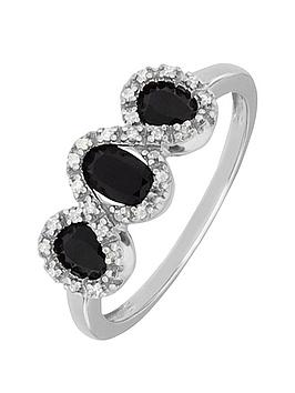 Love Gem 9Ct White Gold Black Sapphire And Diamond Set Trilogy Ring
