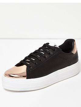 river-island-lace-up-chunky-metallic-tongue-trainernbsp