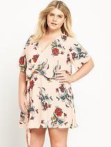 RI Plus Cold Shoulder Floral Print Dress