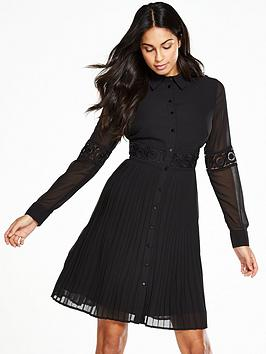 V By Very Lace Insert Pleated Shirt Dress