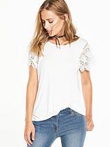 Crochet Lace Trim T-Shirt