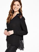 Lace Pleat Back Blouse
