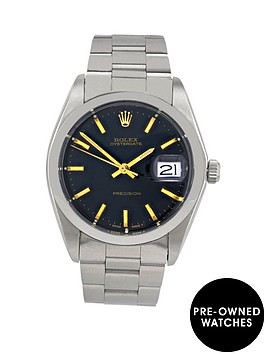 rolex-stainless-steel-oyster-perpetual-date-black-dial-gold-batons-mensnbspwatch-pre-owned