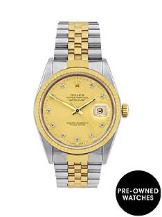 rolex-bimetal-datejust-original-champagne-diamond-dial-mensnbspwatch-pre-ownednbspincluding-paperwork