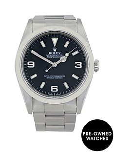 rolex-explorer-i-black-3-6-amp-9-dial-mensnbspwatch-pre-ownednbspincluding-paperwork
