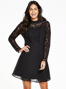 v-by-very-long-sleeve-lace-insert-dress