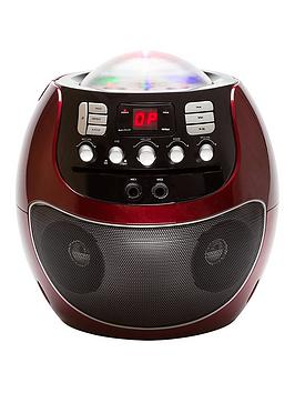 Portable Cd Karaoke System With Led Lights  Red.