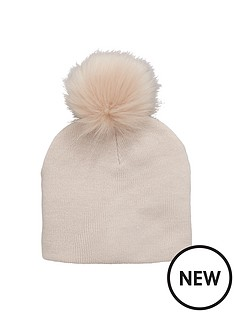 v-by-very-fine-knit-fur-pom-pom-beanie-hat