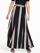 Stripe Print Wrap Maxi Skirt