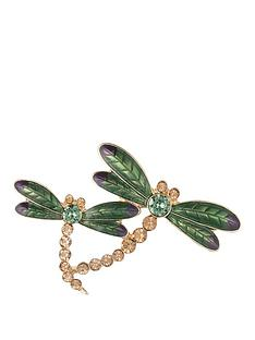anne-klein-gold-tone-enamel-dragon-fly-brooch