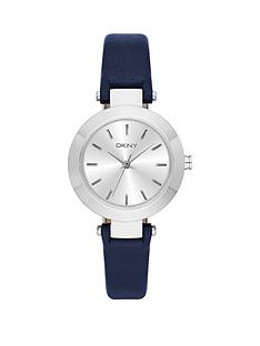 dkny-dkny-stanhope-silver-tone-dial-blue-leather-strap-ladies-watch